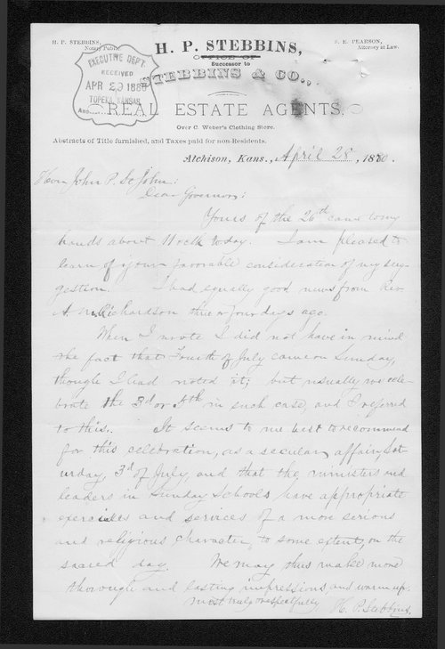 H. P. Stebbins to Governor John St. John - Page