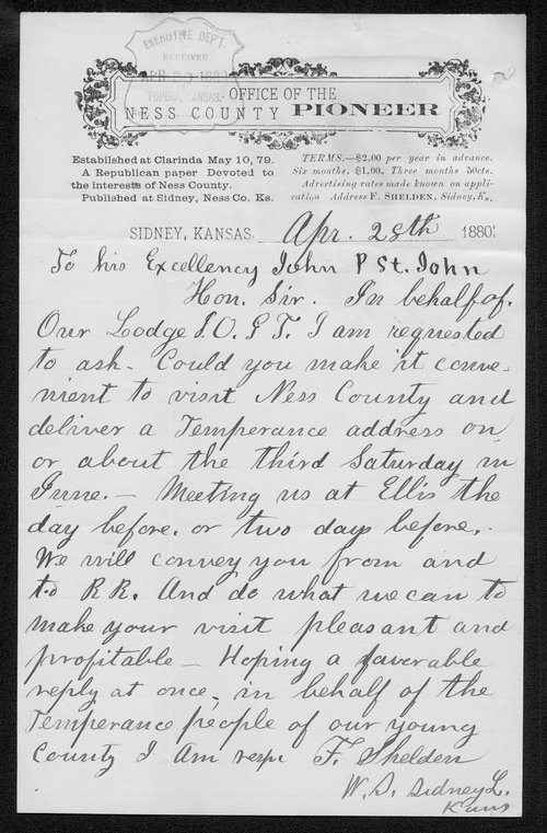 F. Sheldon to Governor John St. John - Page