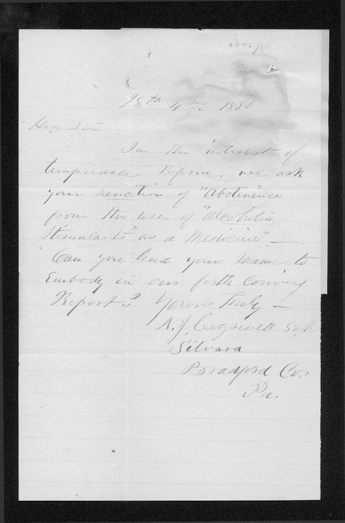 A. J. Cogswell to Governor John St. John - Page