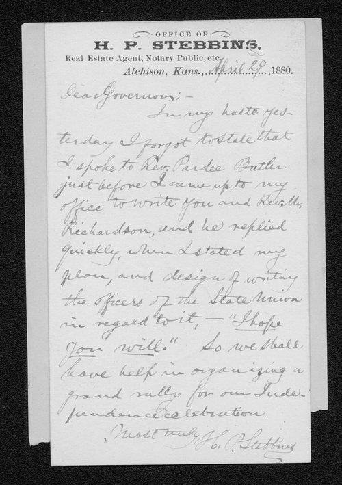 H. P. Stebbins to Governor John St. John - Page
