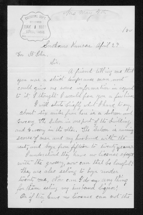 Mary M. Hungate to Governor John St. John - Page