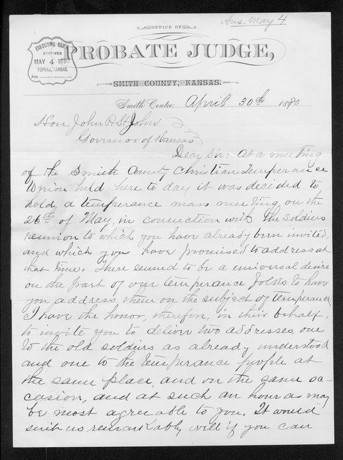 H. H. Reed to Governor John St. John - Page