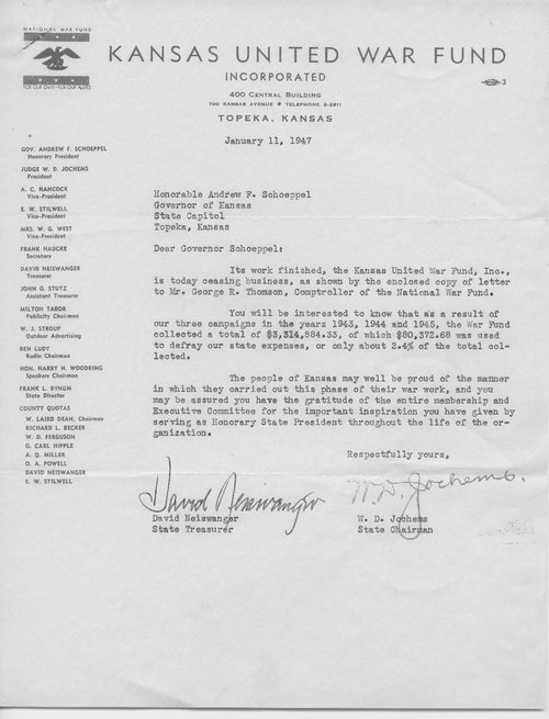 W.D. Jochems to Governor Andrew Schoeppel - Page