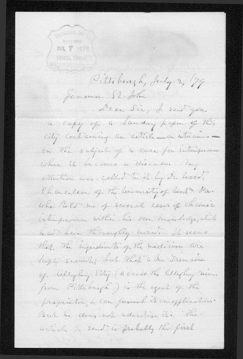 Josiah Copley to Governor John St. John - Page