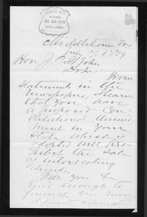 W.J. Groos to Governor John St. John - Page