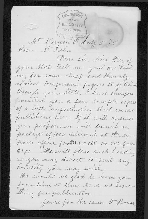 William Bonar to Governor John St. John - Page
