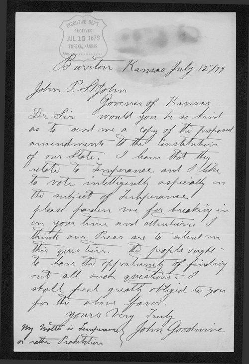 John Goodwine to Governor John St. John - Page