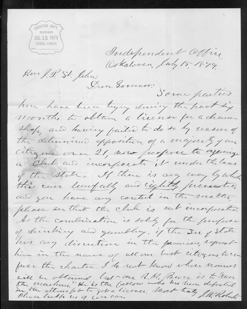 J.W. Roberts to Governor John St. John - Page