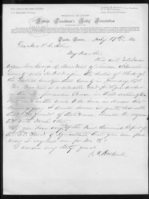 J.C. Hebbard to Governor John St. John - Page