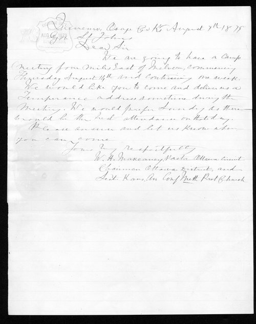 W.H. Makeaney to Governor John St. John - Page