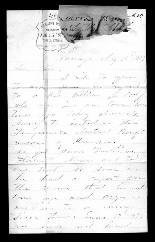 S.M. Stover and Lane Pruity to Governor John St. John - Page