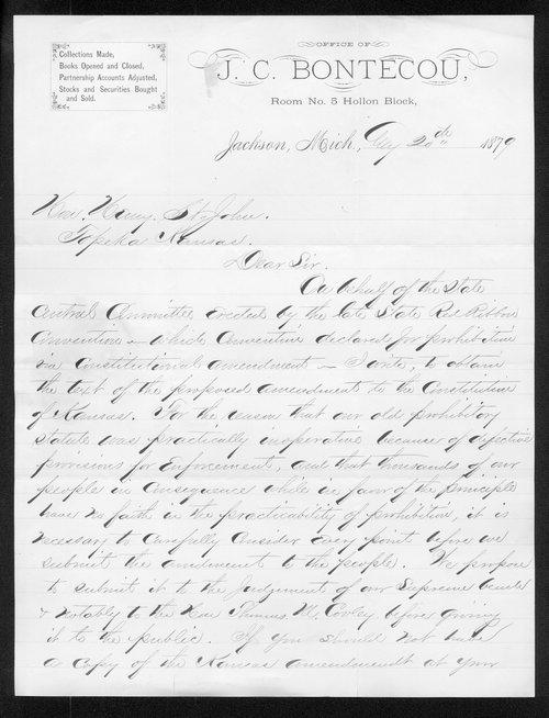 J.C. Bontecou to Governor John St. John - Page