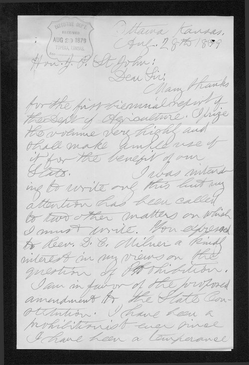 James G. Dougherty to Governor John St. John - Page