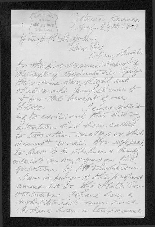 James G. Dougherty to Governor John St. John - Page