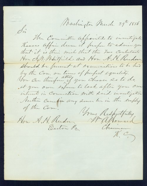 William A. Howard to Andrew Horatio Reeder - Page