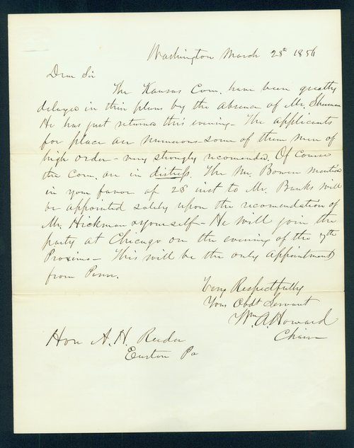 William A. Howard to Andrew Horation Reeder - Page