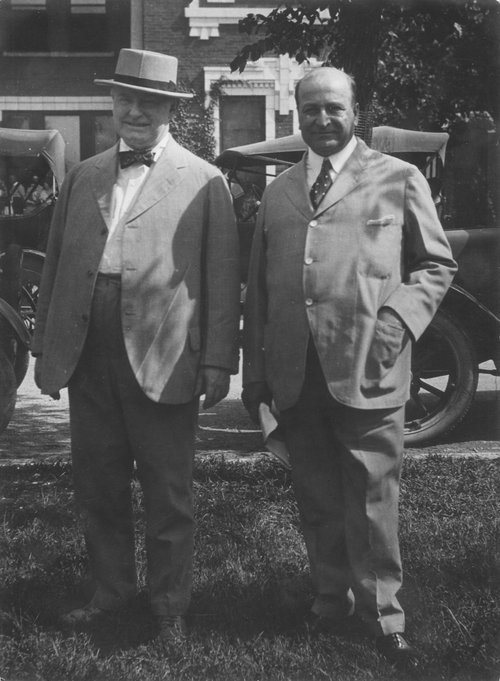 A photograph of William Allen White and Kansas Governor Henry Justin Allen at Emporia Normal School in Emporia, Kansas