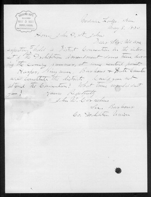 John W. Cornelius to Governor John P. St. John - Page