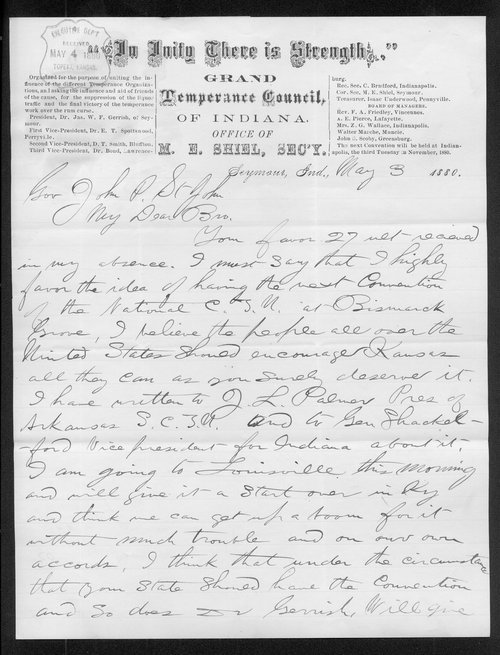 M. E. Shiel to Governor John St. John - Page