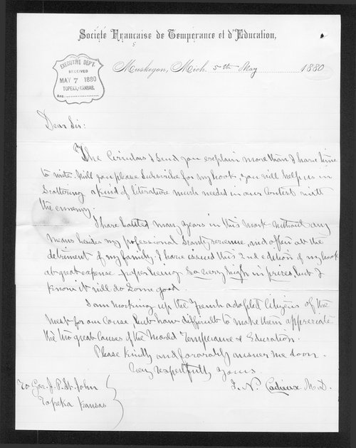 J. N. Cadieux to Governor John St. John - Page