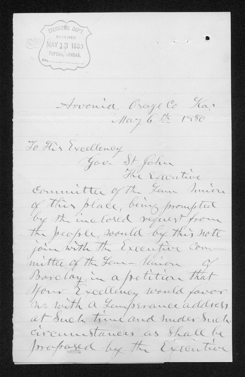Stephen Ogden to Governor John St. John - Page