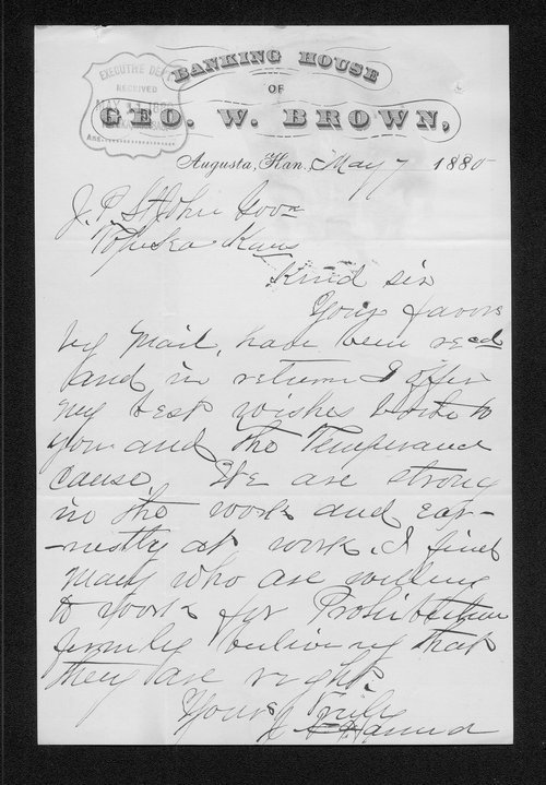 J. W. Hand to Governor John St. John - Page