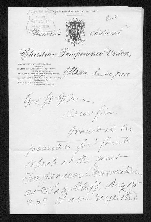 Frances Willard to Governor John St. John - Page