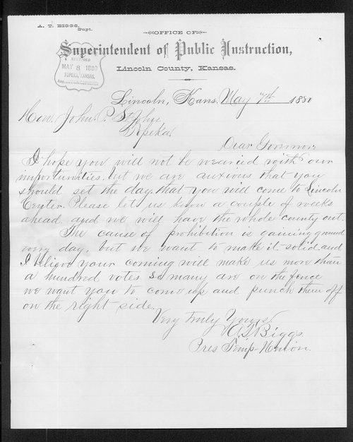A. T. Biggs to Governor John P. St.  John - Page