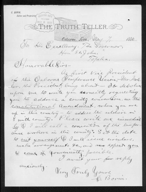 C. Borin to Kansas Governor John St. John - Page