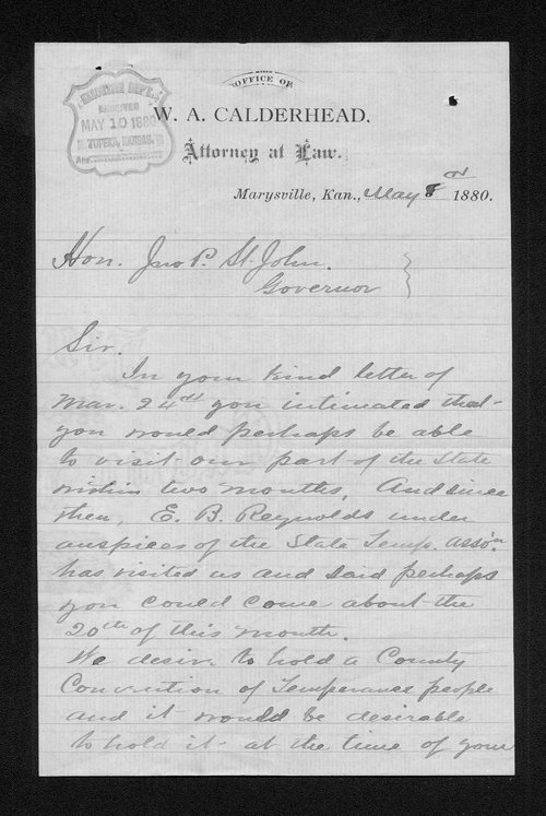 W. A. Calderhead to Governor John St. John - Page