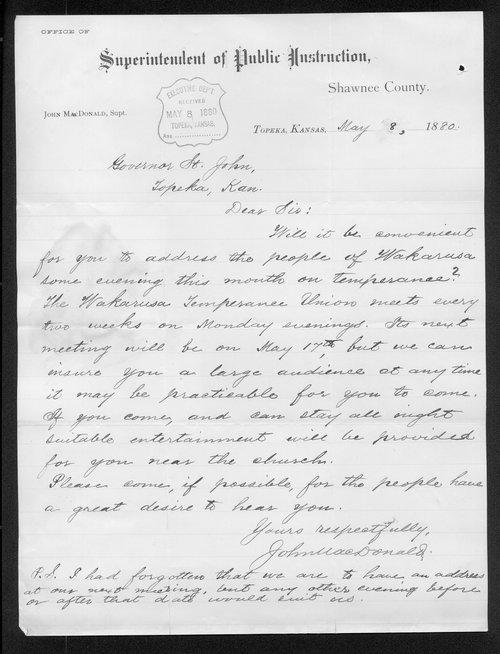 John MacDonald to Governor John St. John - Page