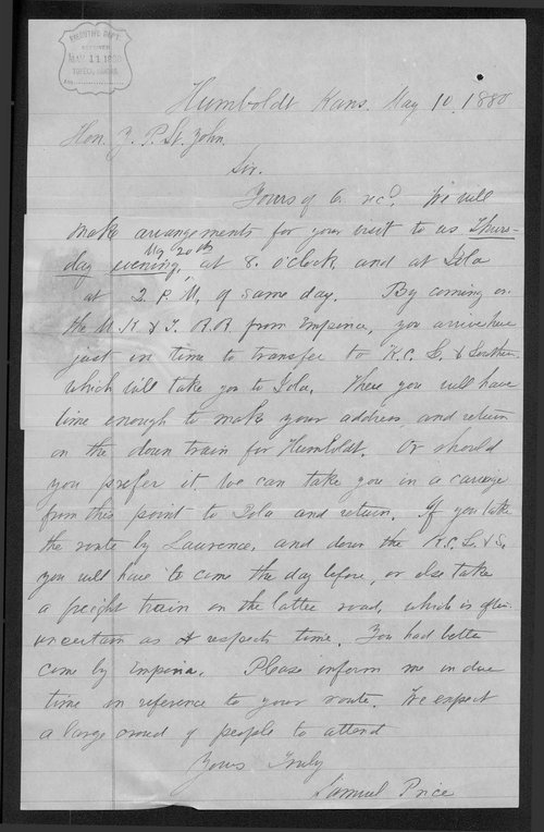 Samuel Price to Governor John St. John - Page