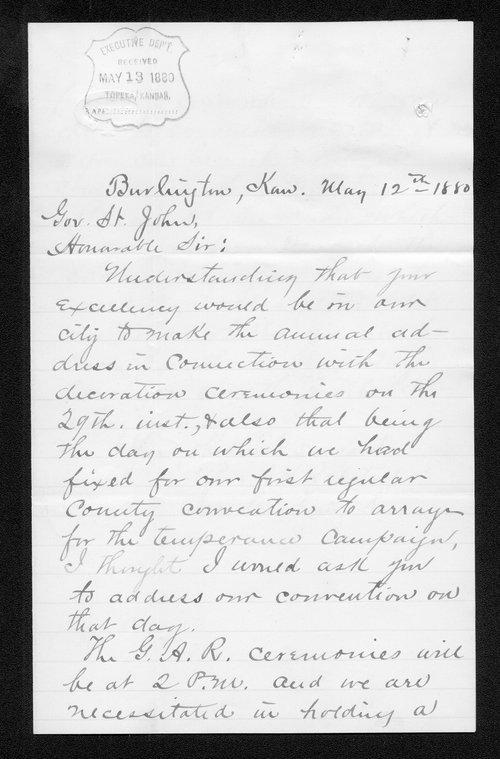 J. H. Ralston to Governor John St. John - Page