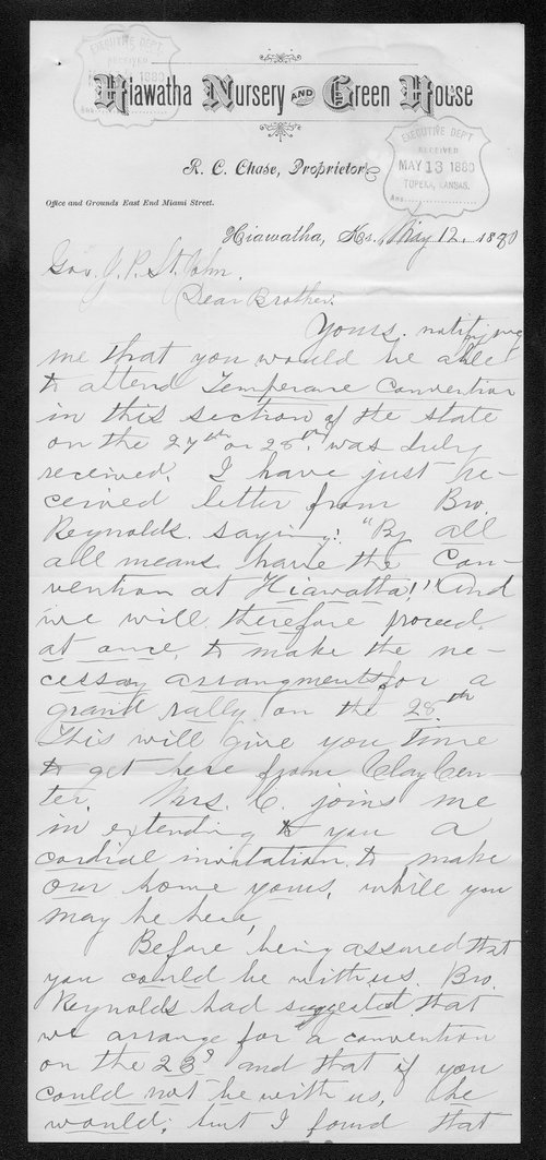R. C. Chase to Governor John St. John - Page