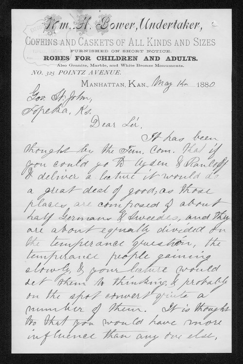 William H. Bower to Governor John St. John - Page