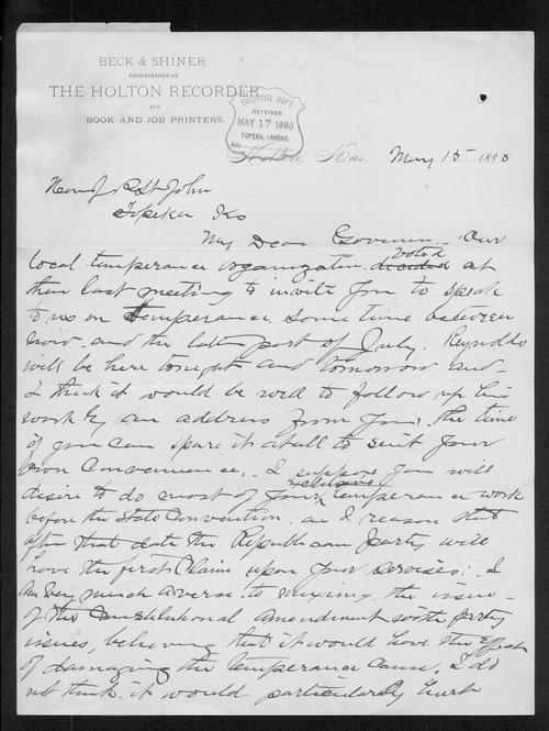 M. M. Beck to Governor JohnP.  St. John - Page
