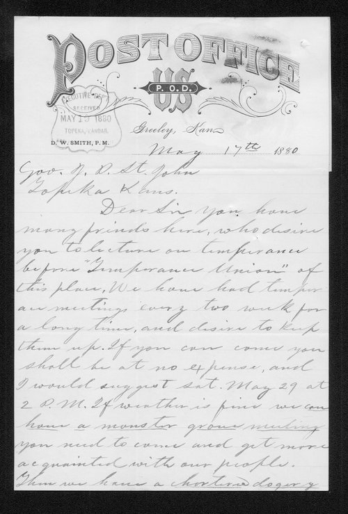 D. W. Smith to Governor John St. John - Page
