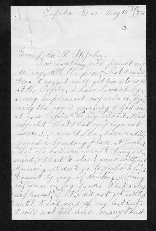 Mrs. Pedrick to Governor John St. John - Page