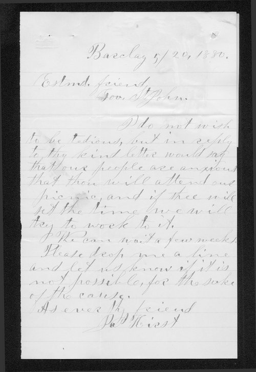 James Hirst to Governor John St. John - Page