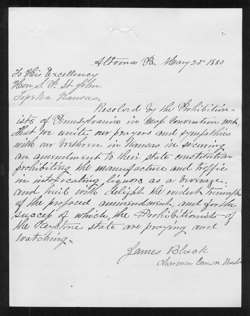 James Black to Governor John St. John - Page