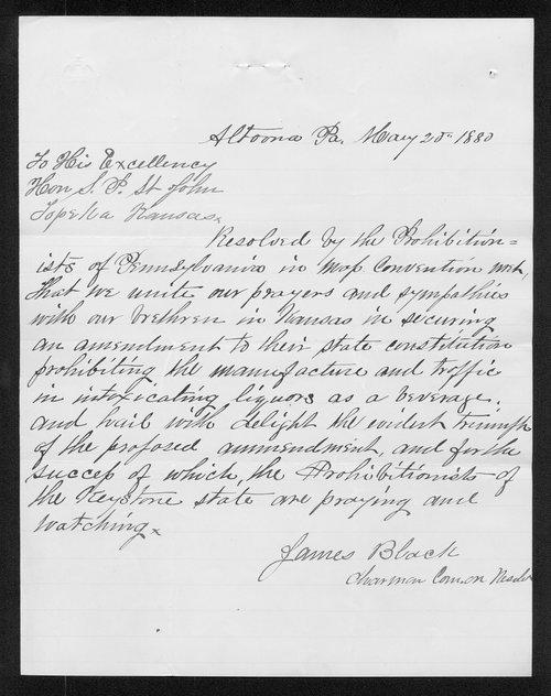 James Black to Governor John St. John - Page