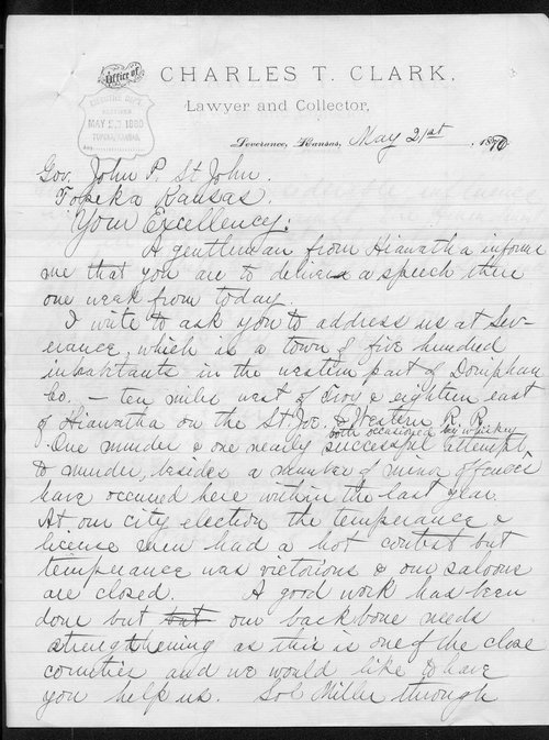 Charles T. Clark to Governor John St. John - Page