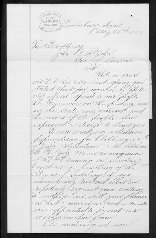 W. J. Henry and others to Governor John St. John - Page