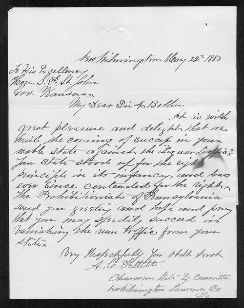 A. C. Pettitt to Governor John St. John - Page