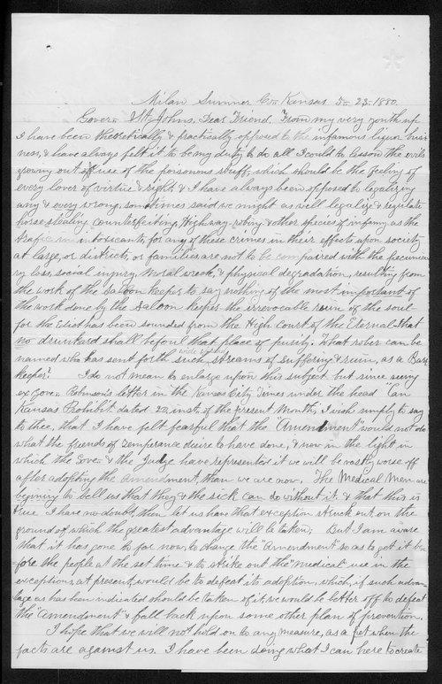 Benjamin Nicholson to Governor John St. John - Page