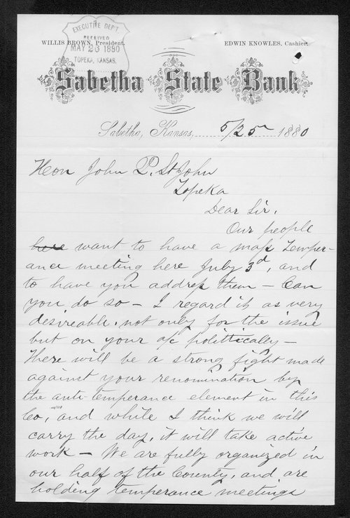 Edwin Knowles to Governor John St. John - Page