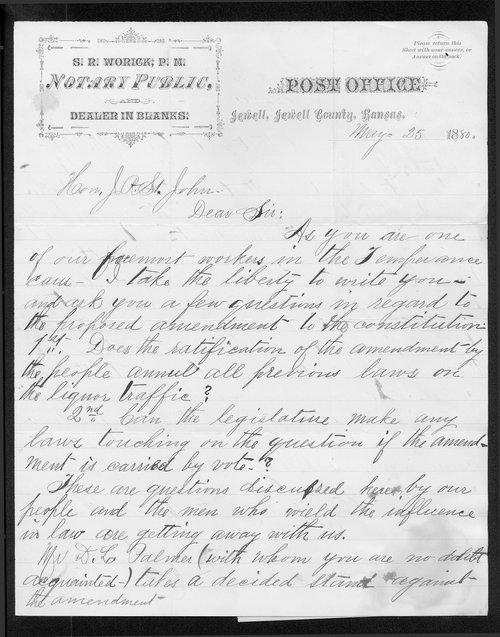 S. R. Worick to Governor John St. John - Page