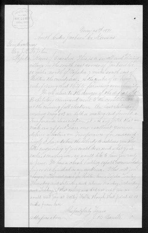 J. H. Barnett to Governor John St. John - Page