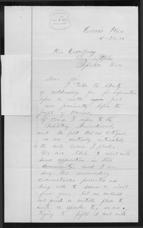 A. Crabb to Governor John St. John - Page