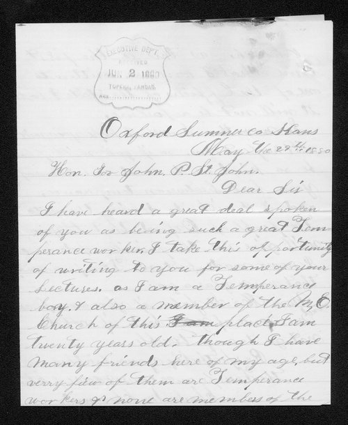 Charles Cheuvront to Governor John St. John - Page